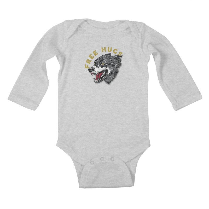 FREE HUGS Kids Baby Longsleeve Bodysuit by Katie Rose's Artist Shop