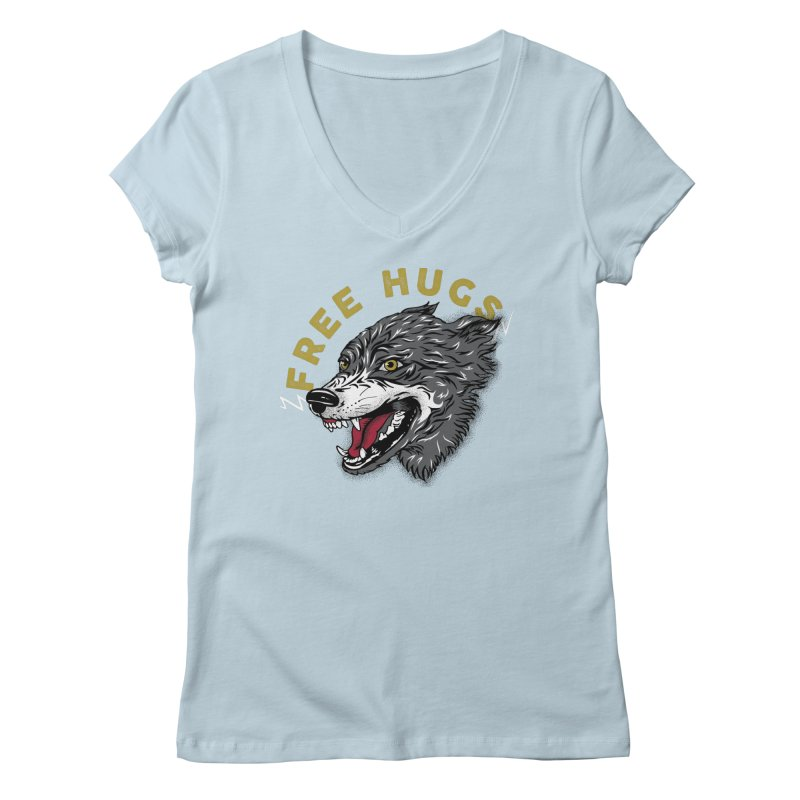 FREE HUGS Women's Regular V-Neck by Katie Rose's Artist Shop