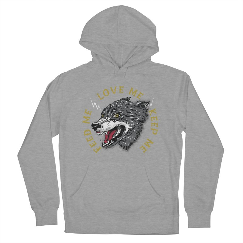 Feed Me Wolf Women's French Terry Pullover Hoody by Katie Rose's Artist Shop