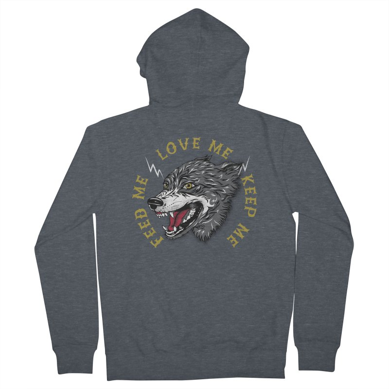 Feed Me Wolf Women's French Terry Zip-Up Hoody by Katie Rose's Artist Shop