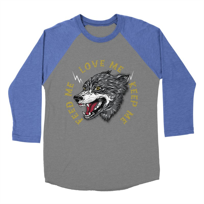Feed Me Wolf Men's Baseball Triblend Longsleeve T-Shirt by Katie Rose's Artist Shop