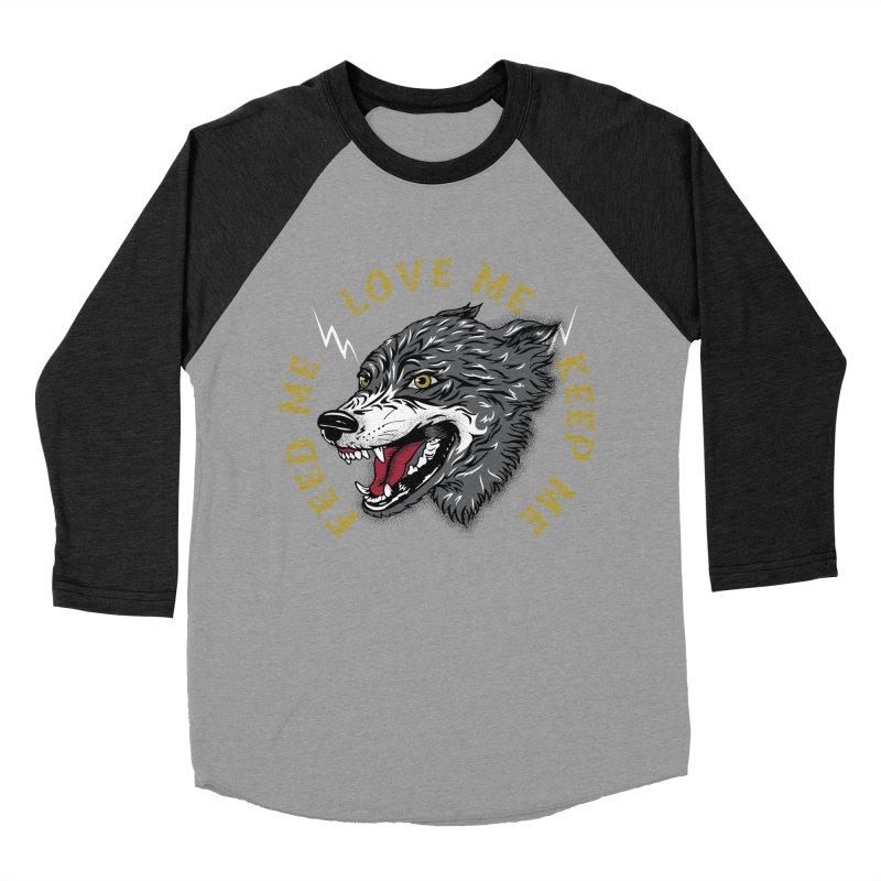 Feed Me Wolf Men's Baseball Triblend Longsleeve T-Shirt by Katie Rose's Artist Shop