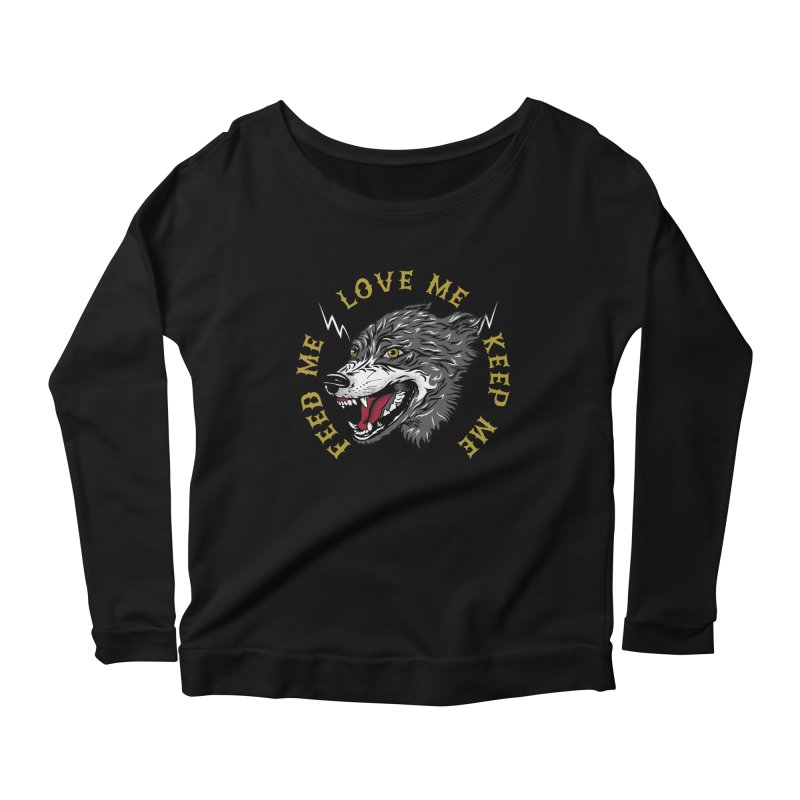 Feed Me Wolf Women's Scoop Neck Longsleeve T-Shirt by Katie Rose's Artist Shop
