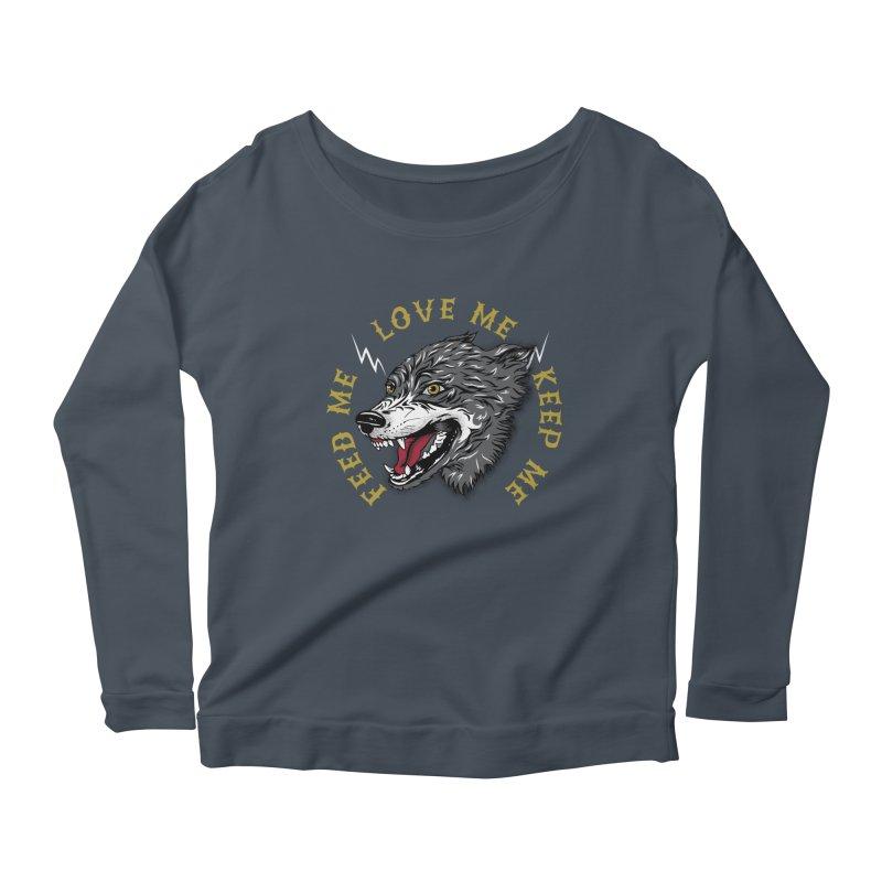 Feed Me Wolf Women's Scoop Neck Longsleeve T-Shirt by Katie Rose's Artist Shop