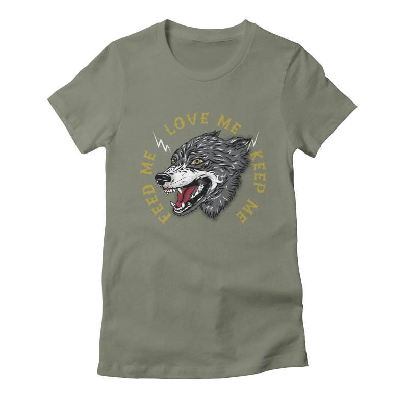 Feed Me Wolf Women's Fitted T-Shirt by Katie Rose's Artist Shop