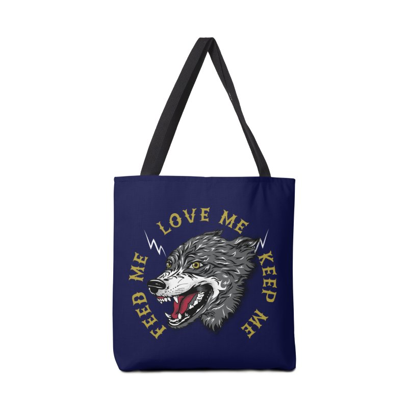 Feed Me Wolf Accessories Bag by Katie Rose's Artist Shop