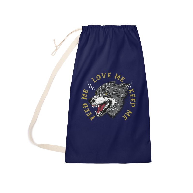 Feed Me Wolf Accessories Laundry Bag Bag by Katie Rose's Artist Shop