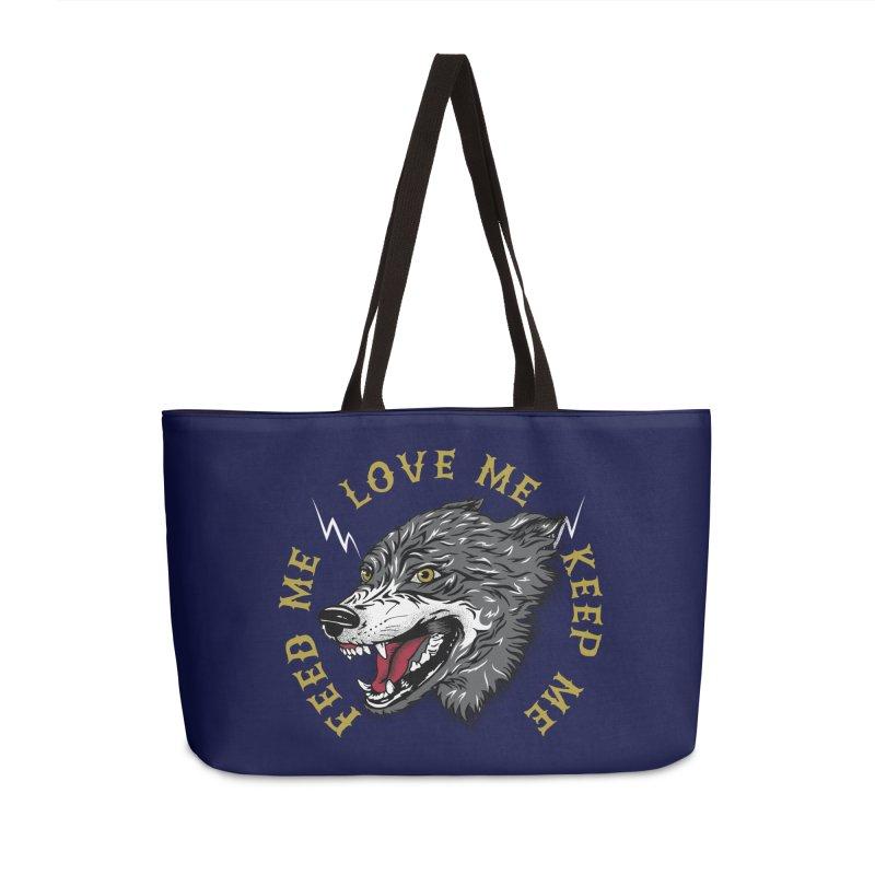 Feed Me Wolf Accessories Weekender Bag Bag by Katie Rose's Artist Shop