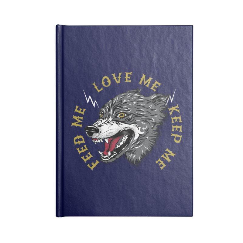 Feed Me Wolf Accessories Blank Journal Notebook by Katie Rose's Artist Shop