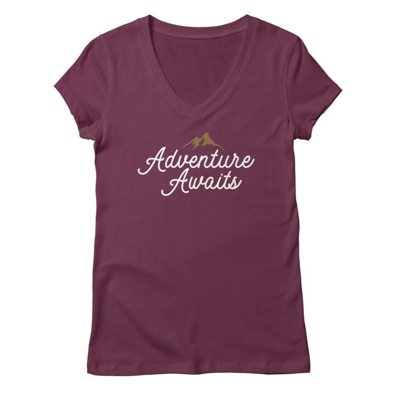 Adventure Awaits Women's Regular V-Neck by Katie Rose's Artist Shop