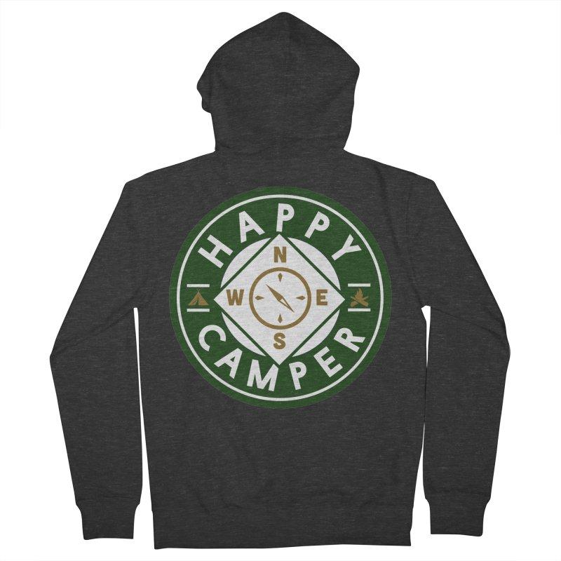 Happy Camper Men's French Terry Zip-Up Hoody by Katie Rose's Artist Shop