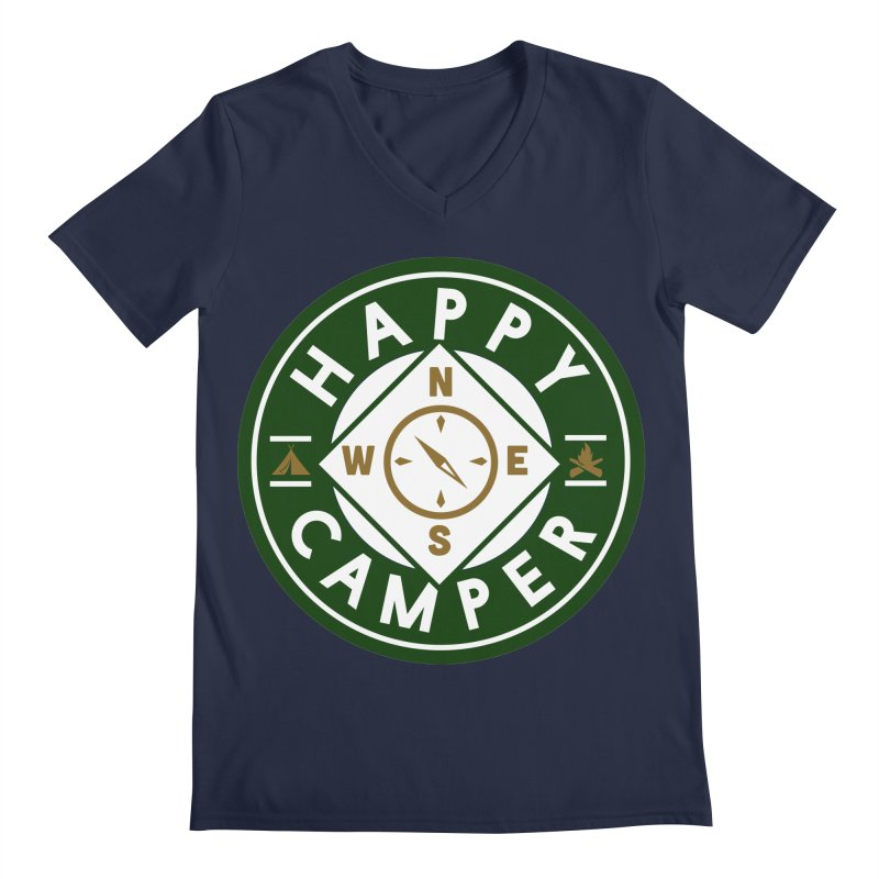 Happy Camper Men's Regular V-Neck by Katie Rose's Artist Shop