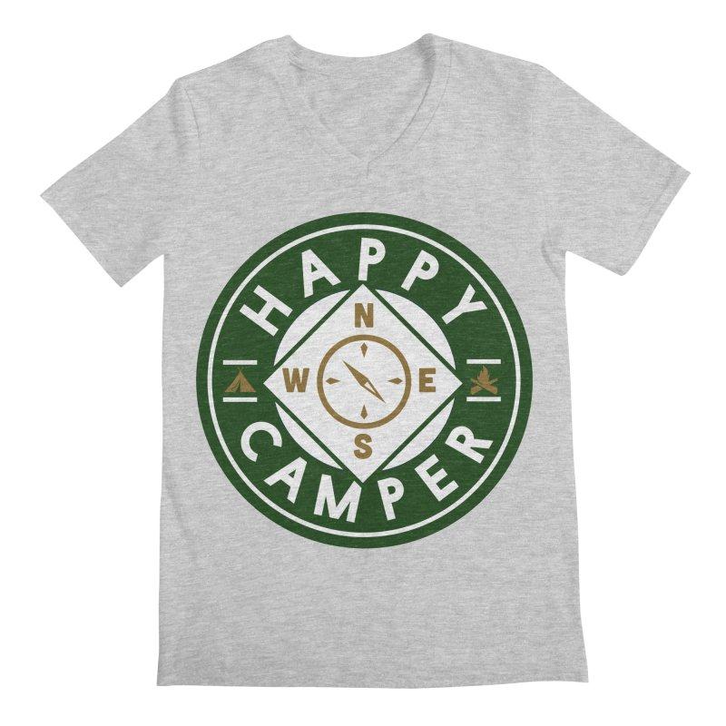 Happy Camper Men's Regular V-Neck by Katie Rose's Artist Shop