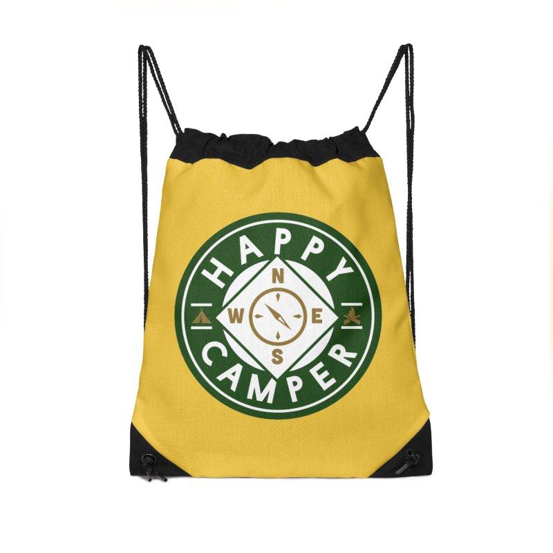 Happy Camper Accessories Drawstring Bag Bag by Katie Rose's Artist Shop