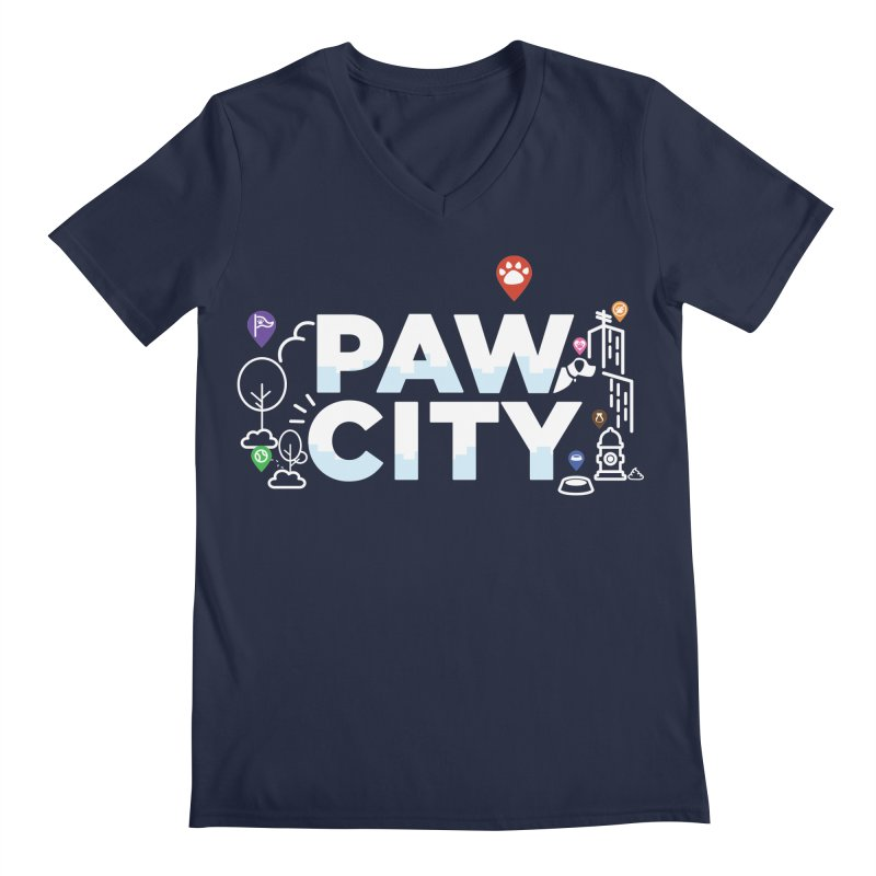 Paw City Men's Regular V-Neck by Katie Rose's Artist Shop