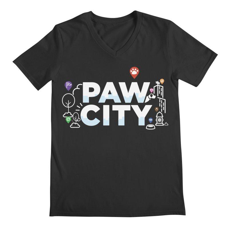 Paw City Men's Regular V-Neck by Katie Rose's Artist Shop