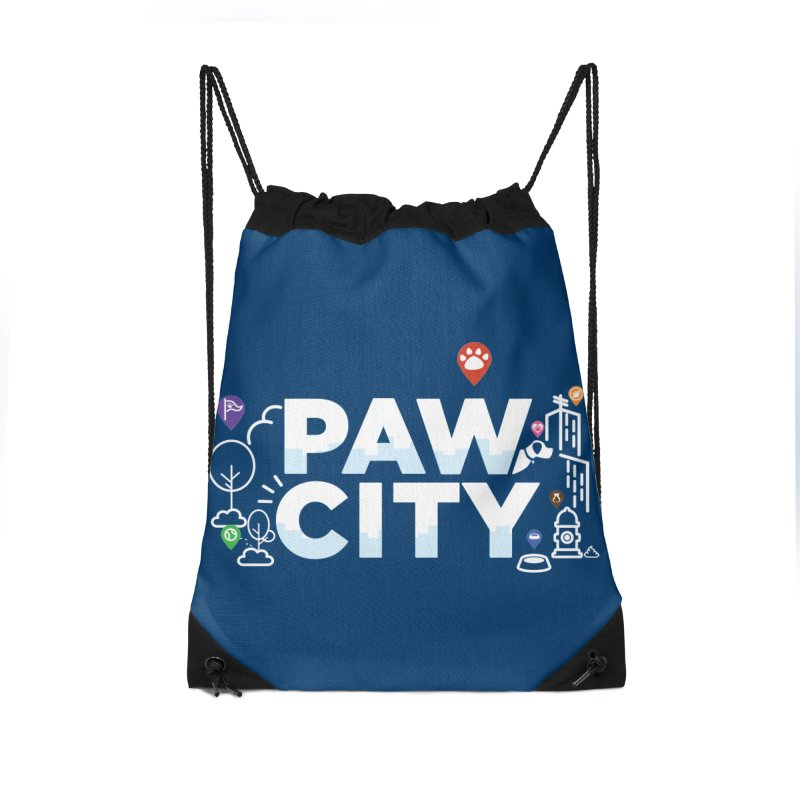 Paw City Accessories Drawstring Bag Bag by Katie Rose's Artist Shop