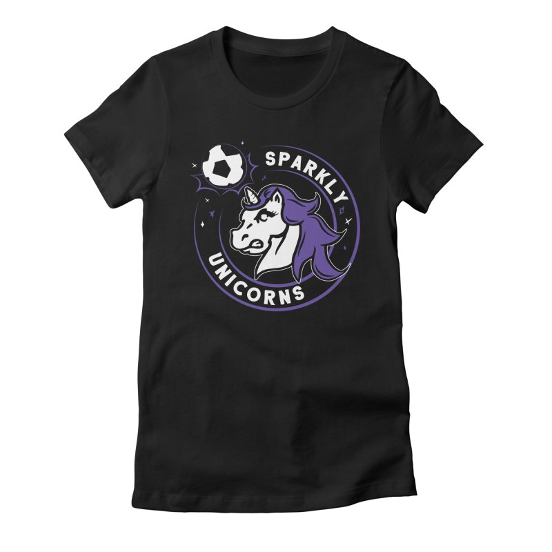 Sparkly Unicorns Women's Fitted T-Shirt by Katie Rose's Artist Shop