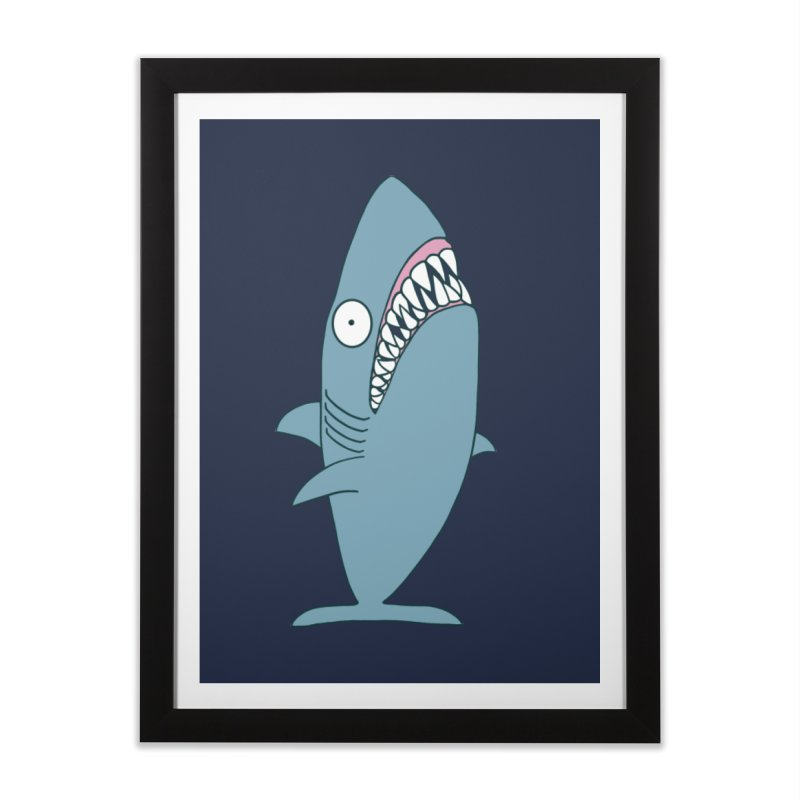 The Mighty Great White Shark Home Framed Fine Art Print by KAUFYSHOP