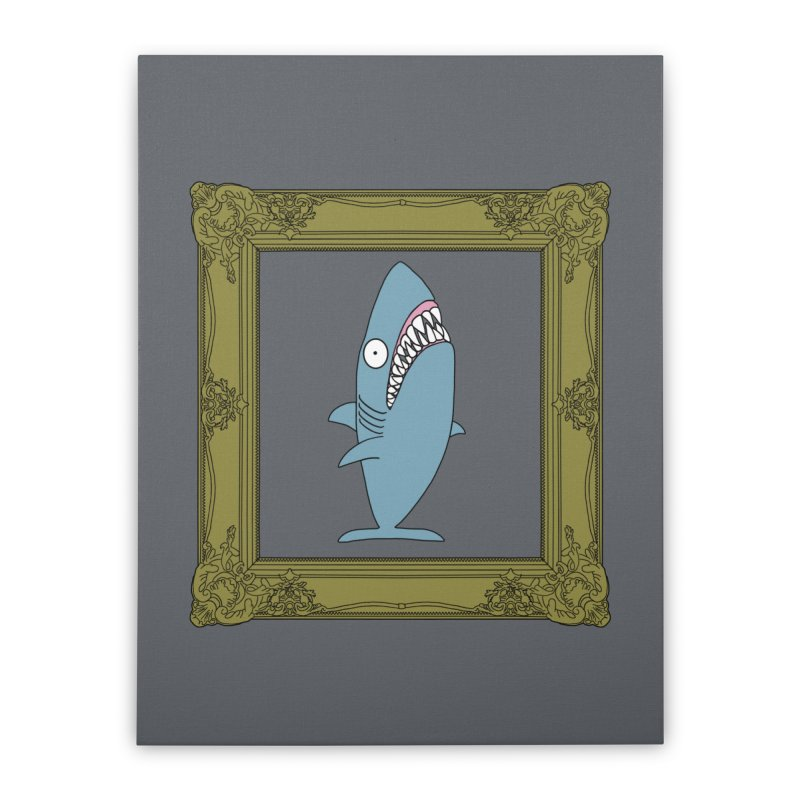 Portrait of a Great White Shark. Home Stretched Canvas by KAUFYSHOP