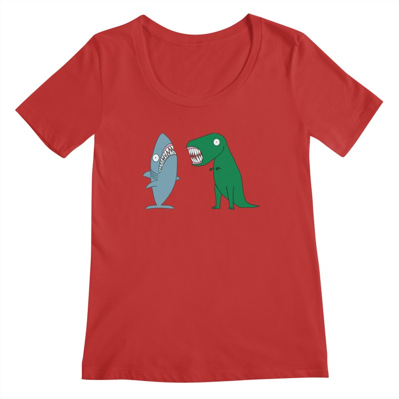 The Mighty Great White Shark and The Terrible Tyrannosaurus Rex Women's Regular Scoop Neck by KAUFYSHOP