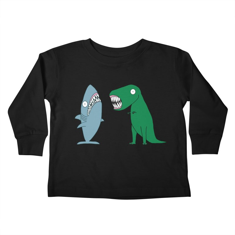 The Mighty Great White Shark and The Terrible Tyrannosaurus Rex Kids Toddler Longsleeve T-Shirt by KAUFYSHOP