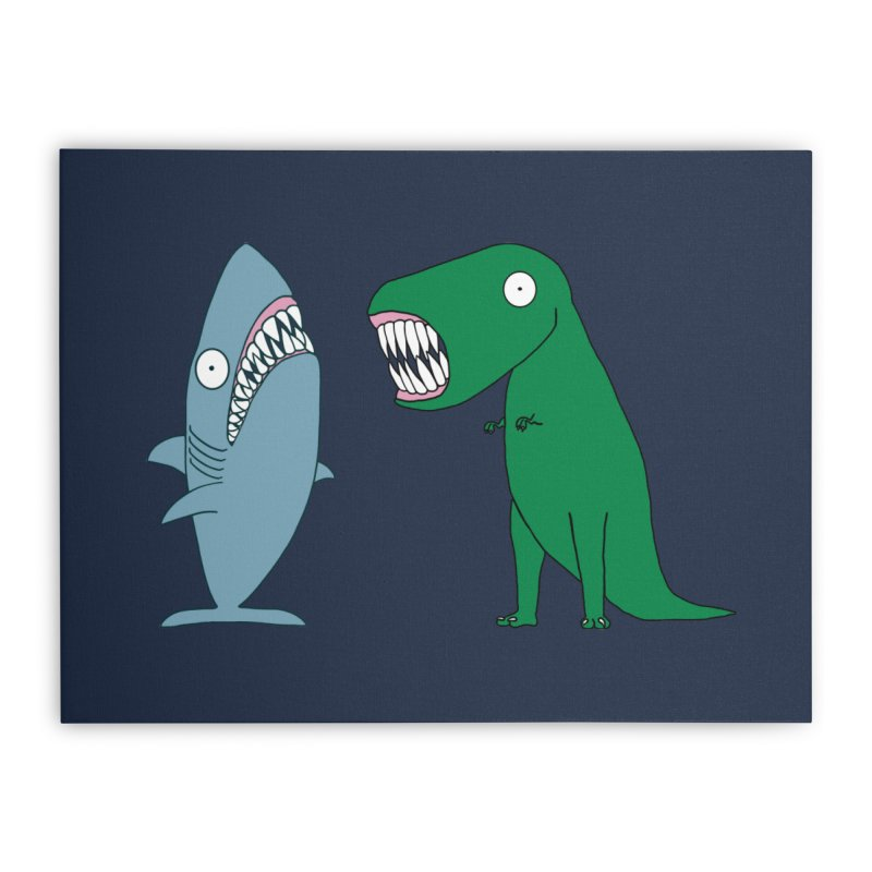 The Mighty Great White Shark and The Terrible Tyrannosaurus Rex Home Stretched Canvas by KAUFYSHOP