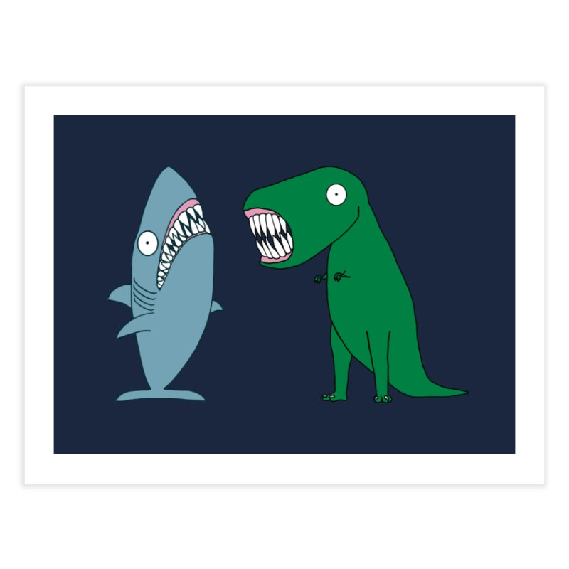The Mighty Great White Shark and The Terrible Tyrannosaurus Rex Home Fine Art Print by KAUFYSHOP