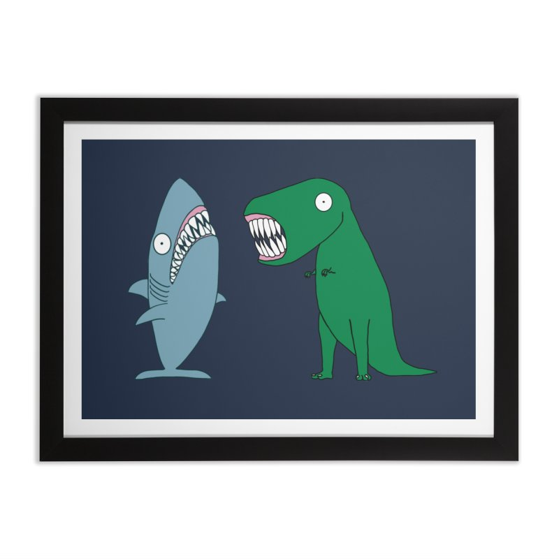 The Mighty Great White Shark and The Terrible Tyrannosaurus Rex Home Framed Fine Art Print by KAUFYSHOP