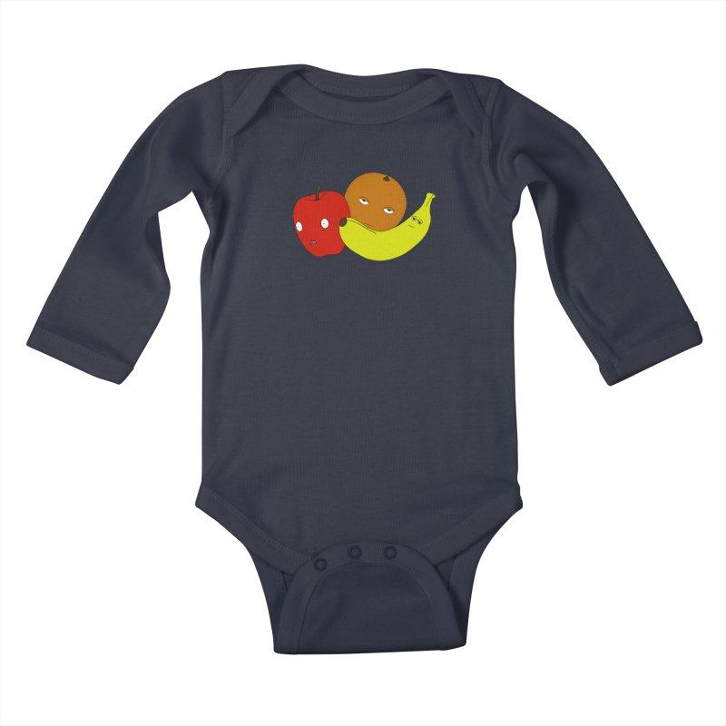 Apple Orange Banana Kids Baby Longsleeve Bodysuit by KAUFYSHOP