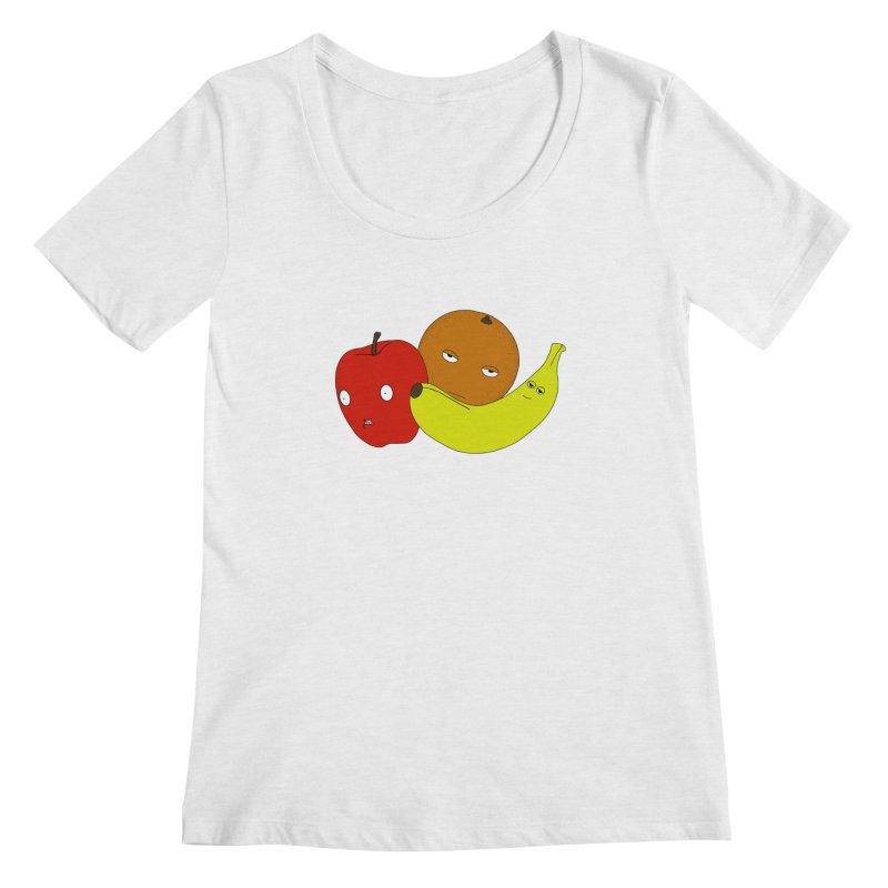 Apple Orange Banana Women's Regular Scoop Neck by KAUFYSHOP