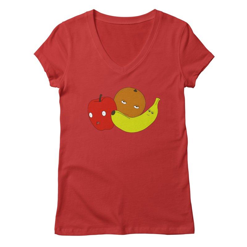 Apple Orange Banana Women's V-Neck by KAUFYSHOP