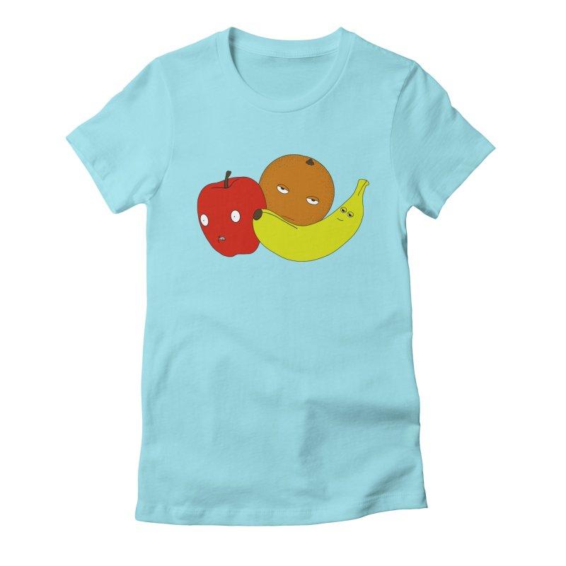 Apple Orange Banana Women's Fitted T-Shirt by KAUFYSHOP