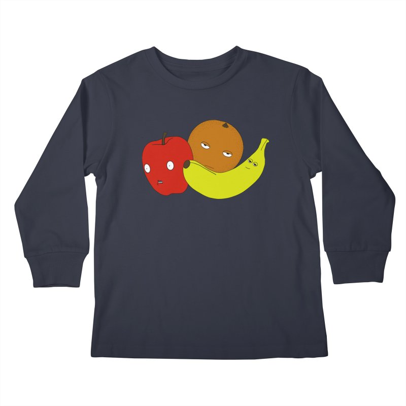 Apple Orange Banana Kids Longsleeve T-Shirt by KAUFYSHOP