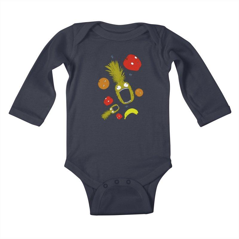 Falling Fruit Kids Baby Longsleeve Bodysuit by KAUFYSHOP