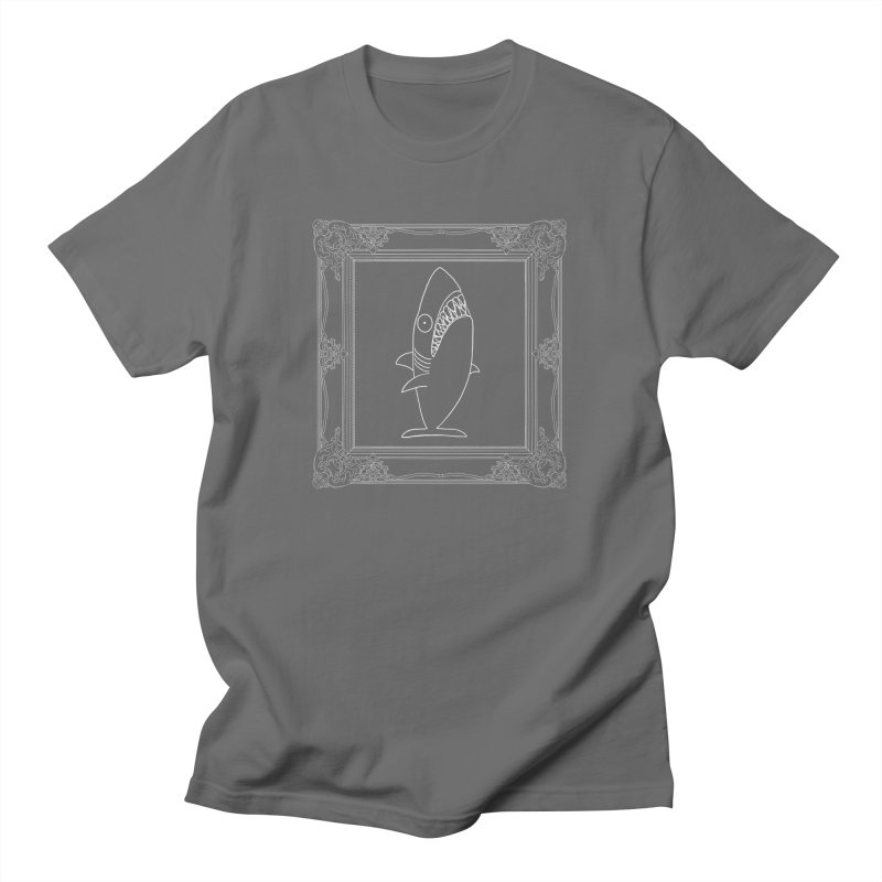 Portrait of a Great White Shark (outlined) Men's T-Shirt by KAUFYSHOP