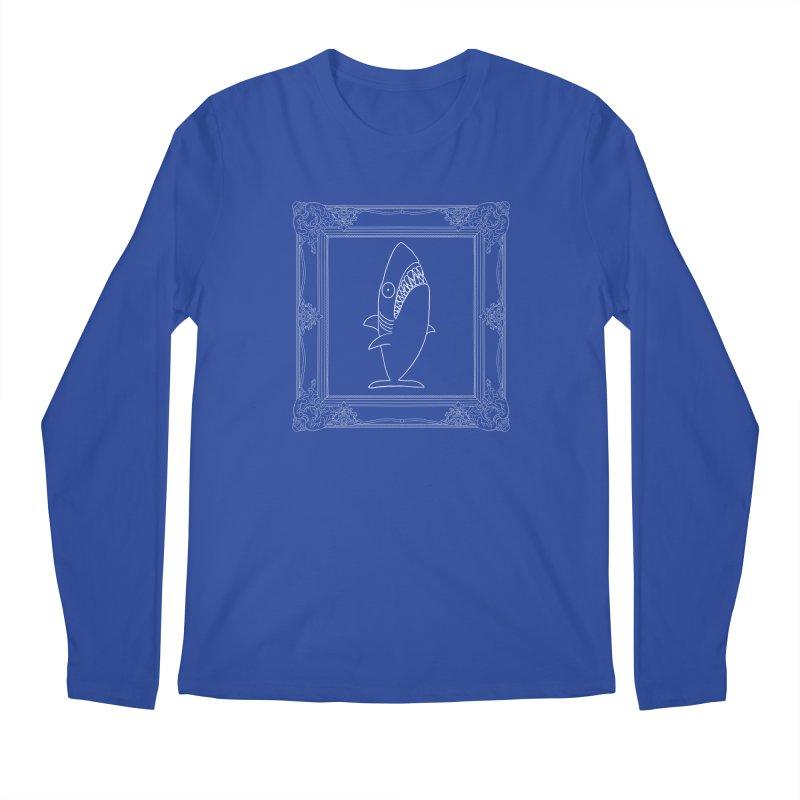 Portrait of a Great White Shark (outlined) Men's Regular Longsleeve T-Shirt by KAUFYSHOP