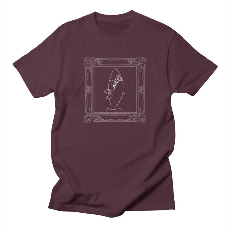 Portrait of a Great White Shark (outlined) Women's Regular Unisex T-Shirt by KAUFYSHOP