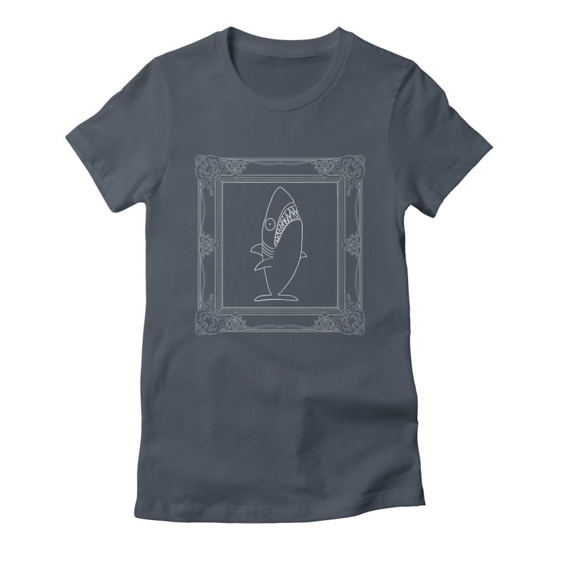 Portrait of a Great White Shark (outlined) Women's T-Shirt by KAUFYSHOP