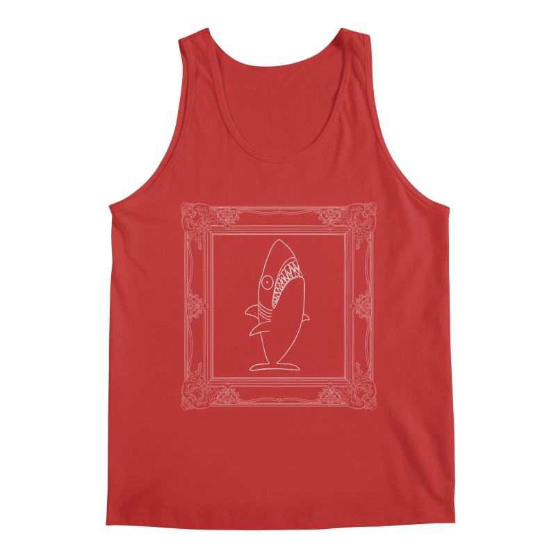 Portrait of a Great White Shark (outlined) Men's Regular Tank by KAUFYSHOP