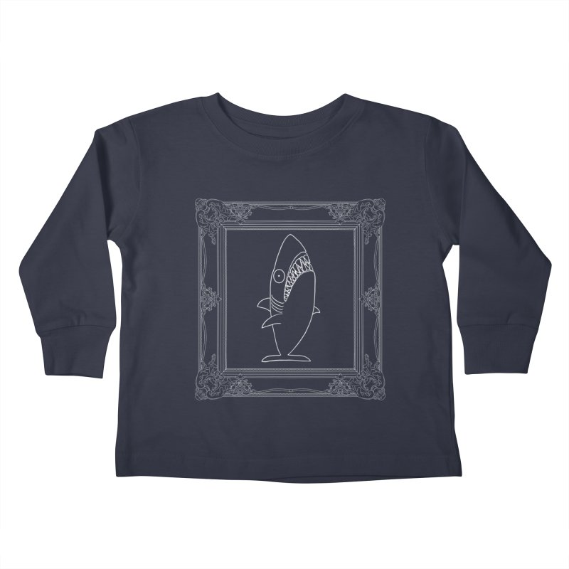 Portrait of a Great White Shark (outlined) Kids Toddler Longsleeve T-Shirt by KAUFYSHOP