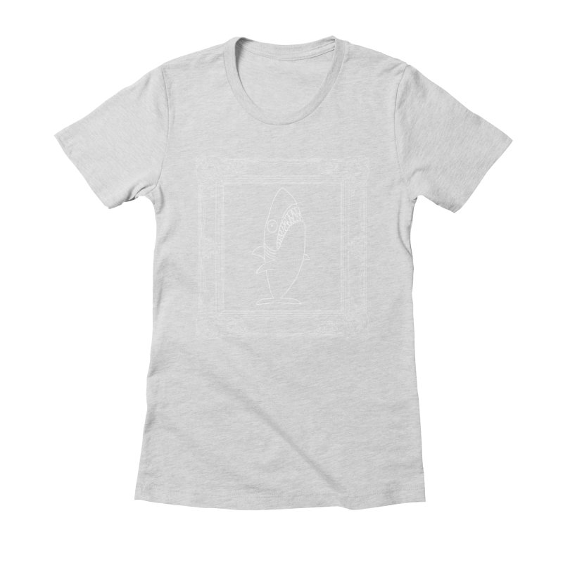 Portrait of a Great White Shark (outlined) Women's Fitted T-Shirt by KAUFYSHOP