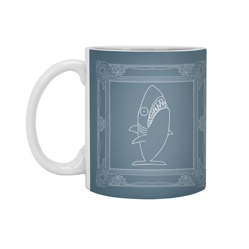 Portrait of a Great White Shark (outlined) Accessories Standard Mug by KAUFYSHOP