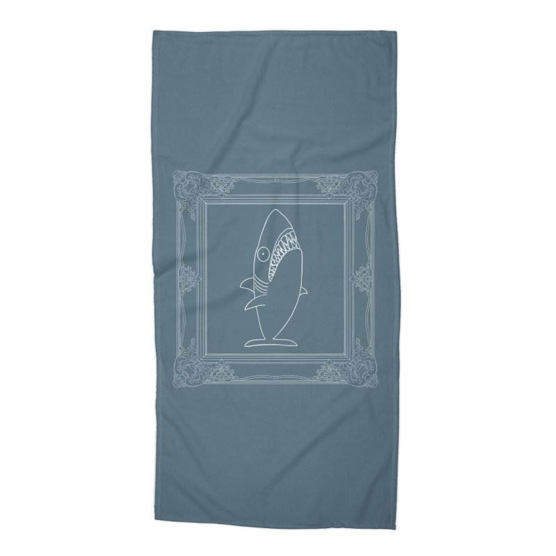Portrait of a Great White Shark (outlined) Accessories Beach Towel by KAUFYSHOP