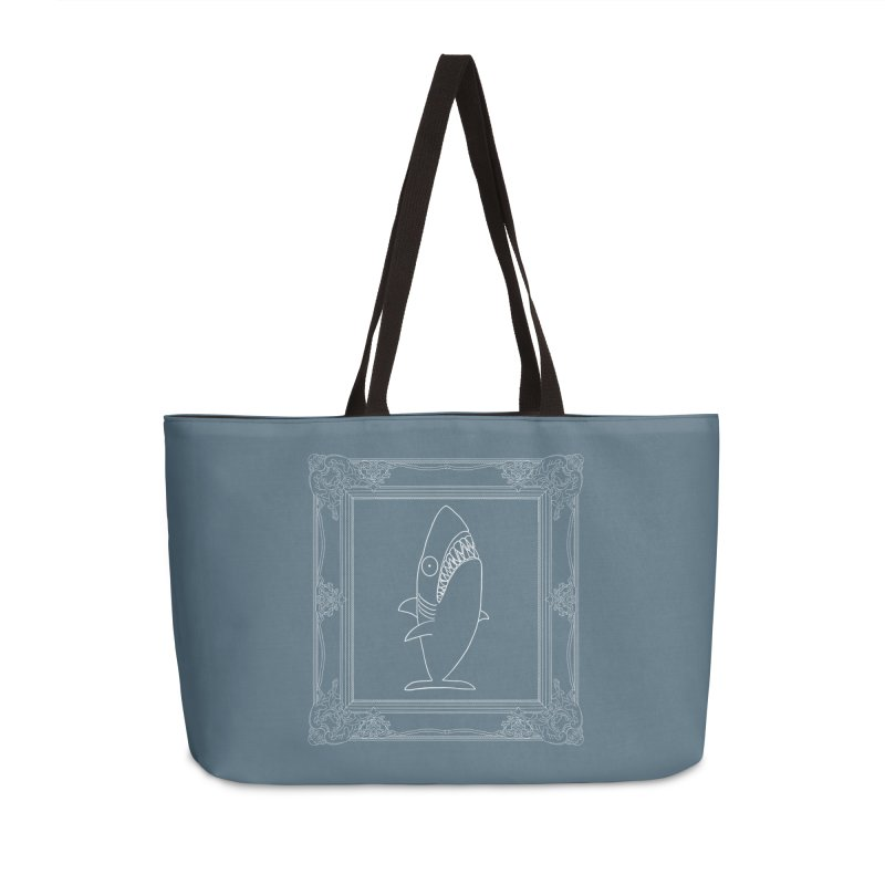 Portrait of a Great White Shark (outlined) Accessories Weekender Bag Bag by KAUFYSHOP