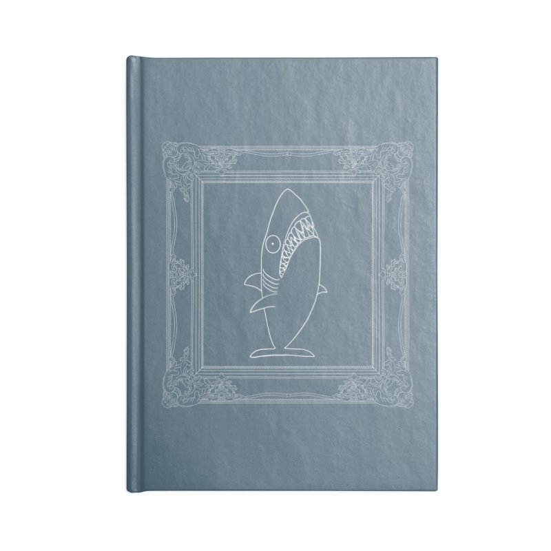 Portrait of a Great White Shark (outlined) Accessories Notebook by KAUFYSHOP
