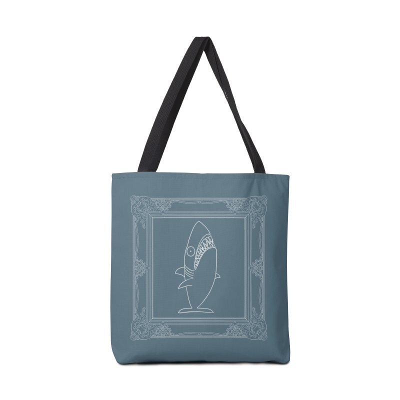 Portrait of a Great White Shark (outlined) Accessories Tote Bag Bag by KAUFYSHOP