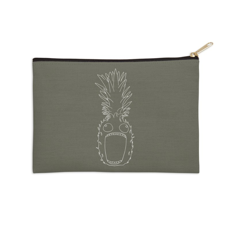 The Pineapple (outline) Accessories Zip Pouch by KAUFYSHOP