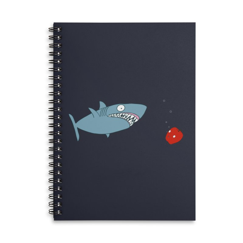 Shark and Apple Accessories Lined Spiral Notebook by KAUFYSHOP