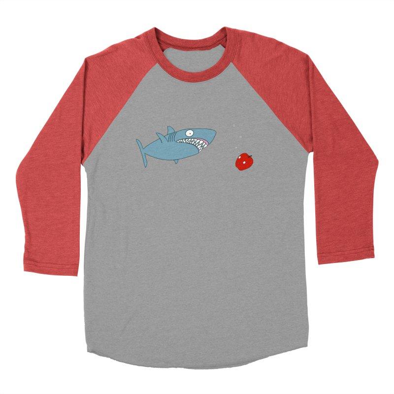Shark and Apple Women's Baseball Triblend Longsleeve T-Shirt by KAUFYSHOP